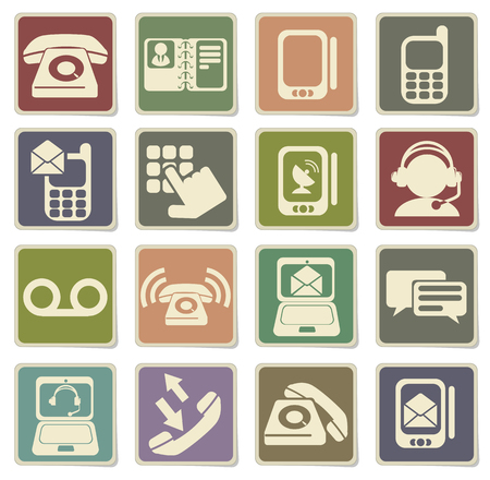 answering phone: Telephone Icons in eps 10 Illustration