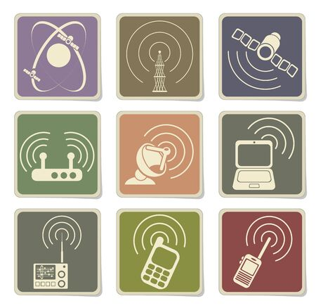 communications tower: Radio signal simple vector icons