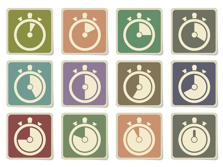 second hand: timer icons in eps 10