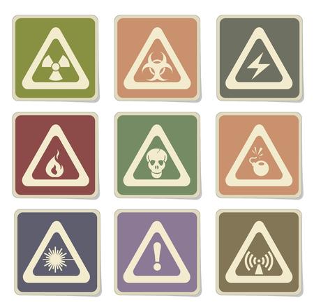 Hazard Sign Icon Set Illustration