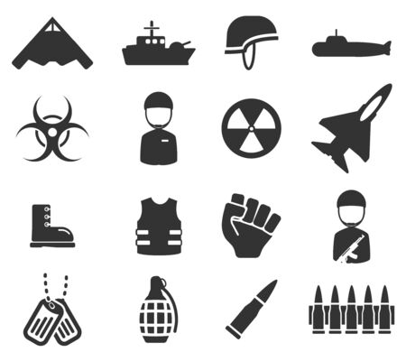 biological hazards: Military simply icons Illustration
