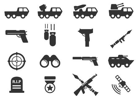 gunfire: Military simply icons Illustration