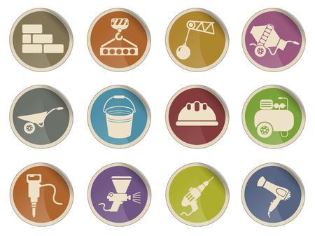 wrecker: Symbols of building equipment web icon Illustration