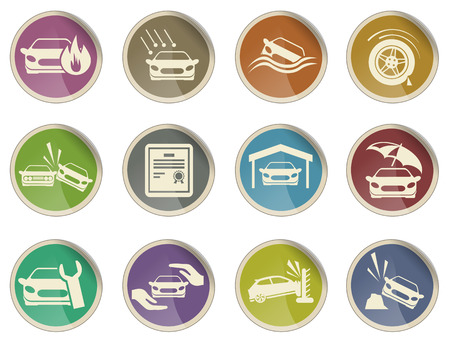 car garage: Car Insurance Icon set Illustration