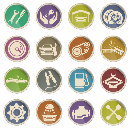 auto service: Auto Service Vector Web Icons Illustration