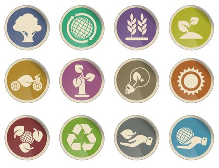 energy industry: Ecology and Energy Industry Icon Set