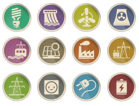 coal power station: Energy and Industry Icon Set