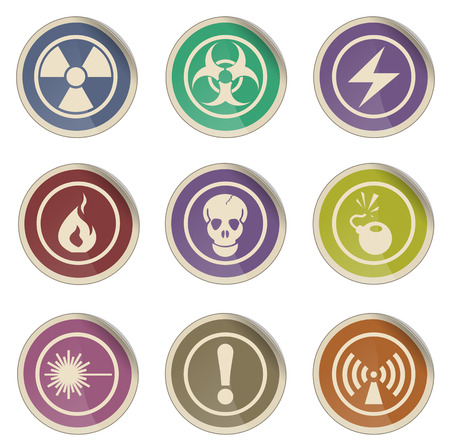 hazardous waste: Hazard Sign simple vector icon set