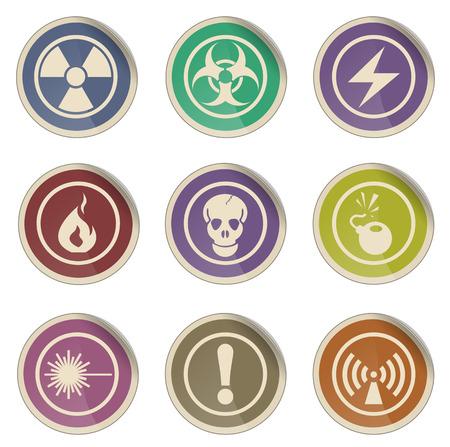 hazard sign: Hazard Sign simple vector icon set