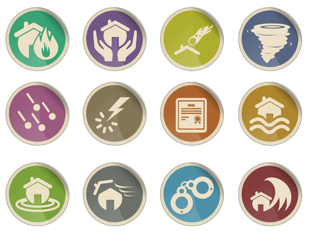 home insurance: Home Insurance Icon Set