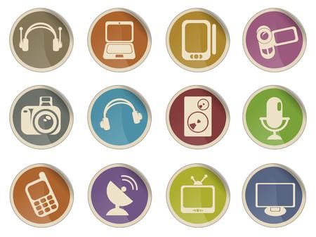 media vector web icon set Vectores