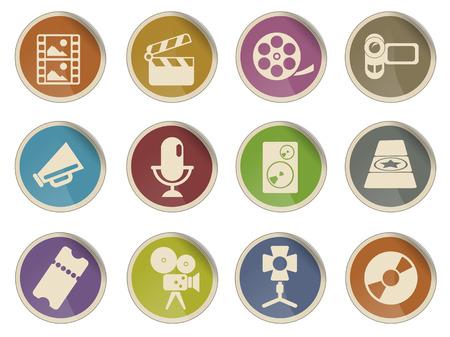 camara de cine: Industria cinematogr�fica Web Icon Set Vectores