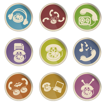 handsfree telephone: Communications and phone icon set