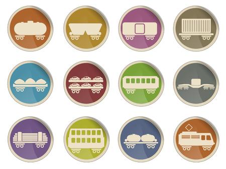 storage tank: rail-freight traffic simple vector icon set Illustration