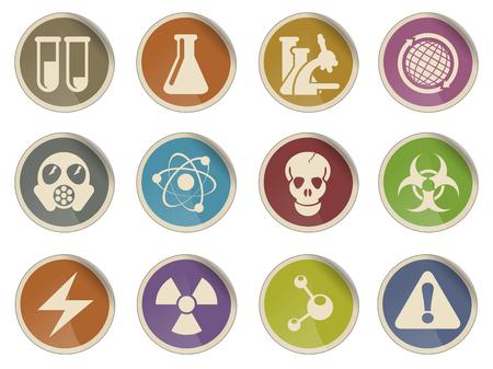 gas mask warning sign: Science Symbols simple vector icon set