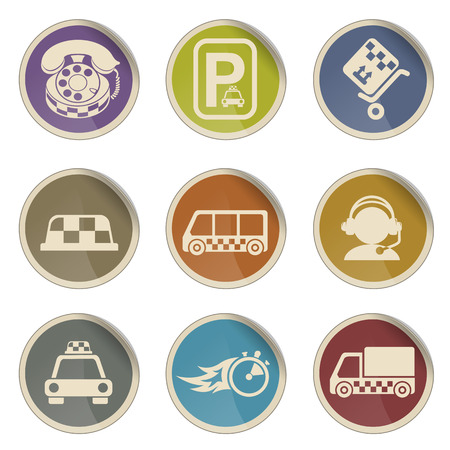 Symbols of taxi services simple vector icon set Illustration