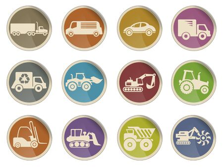 earth mover: Symbols of Transportation & Loading Machines Icons Illustration