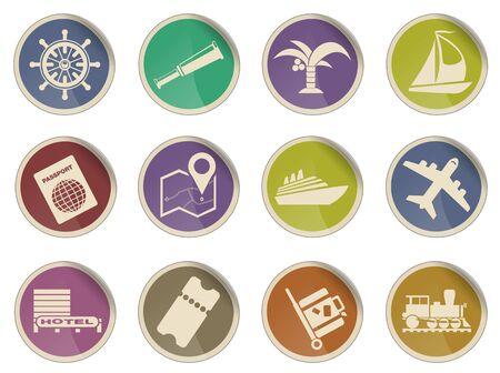 travel locations: Travel simple vector icon set Illustration