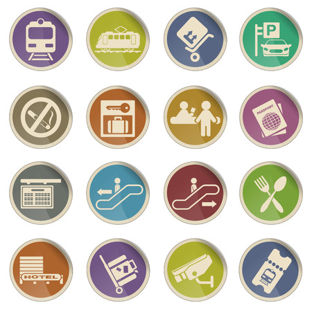 moving down: Train station symbols simple vector icon set