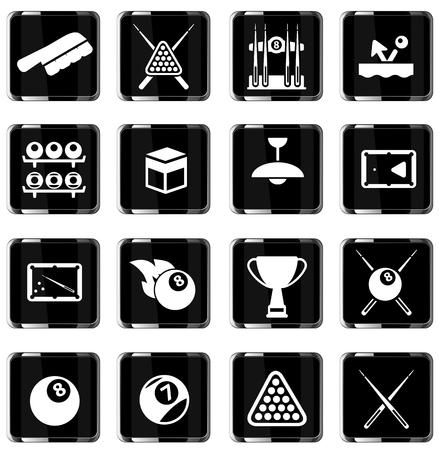 cues: Billiards simply vector icon set