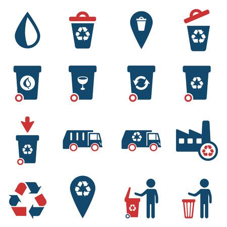 Garbage simply vector icon set