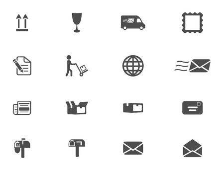 logistics world: post service icons, mono vector symbols Illustration