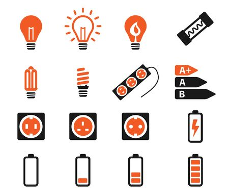 saving electricity: Electricity simply vector icon set