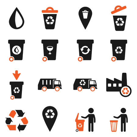 Garbage simply vector icon set