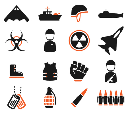 chemical weapons: Military simply vector icon set