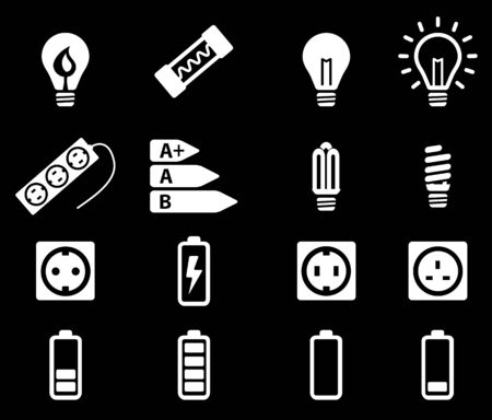 charged: Electricity simply vector icon set