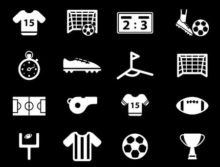 terrain football: Football simplement vecteur, icône, ensemble Illustration
