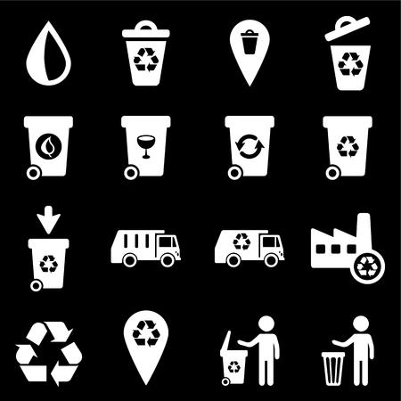 camion de basura: Basura, simplemente conjunto de iconos de vectores