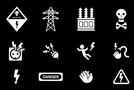 electricity danger of death: High voltage simply symbol for web icons