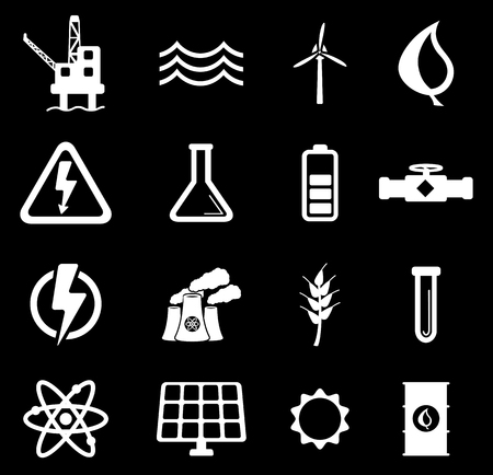 power generation: Power generation simply vector icon set