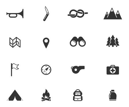 Padvinder gewoon symbolen voor web icons Stock Illustratie