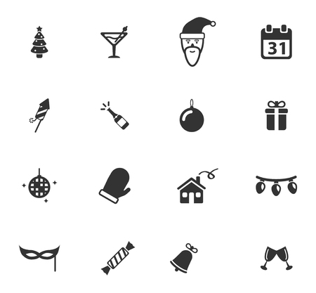 champagne pop: New year simply symbols for web icons Illustration