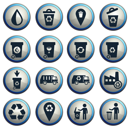 incineration: Garbage simply symbols for web  icon set Illustration