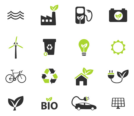 Alternative energy simple vector icons Çizim