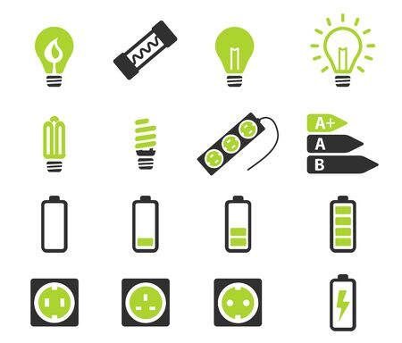 Electricity simply vector icon set