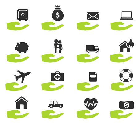 insure: Insurance simply vector icon set Illustration