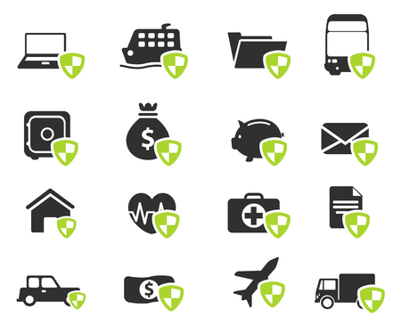 insure: Insurance simply vector icon set Illustration