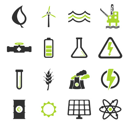 wind power: Power generation simply vector icon set