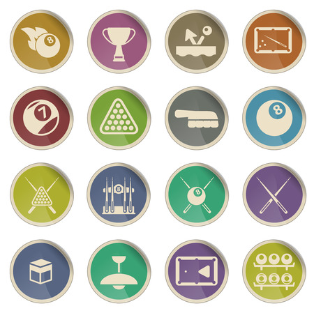 Billiards simply vector icon set