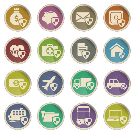 Insurance simply vector icon set Vettoriali