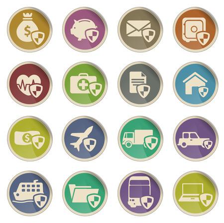 Insurance simply vector icon set Ilustração