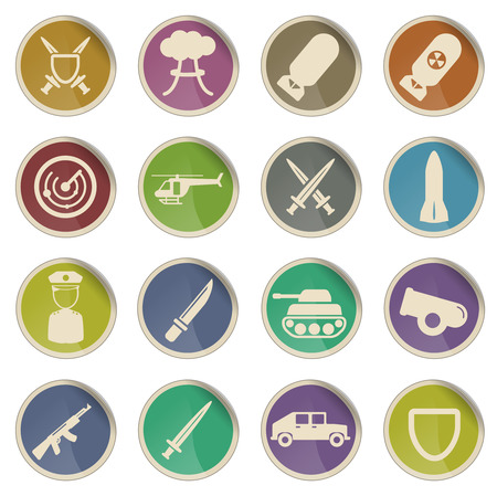 nuclear bomb: Military simply vector icon set
