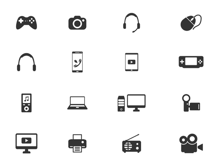 portable console: Gadgets simply symbols for web icons Illustration