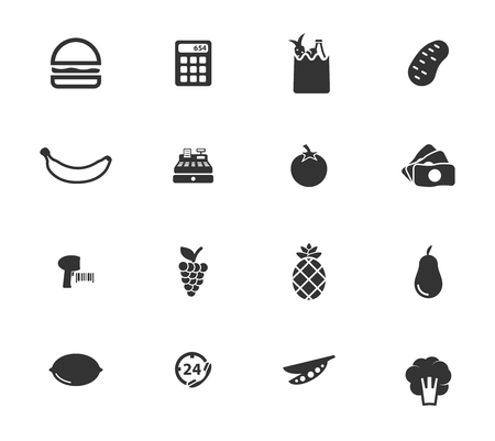 calculator money: Grocery simply symbols for web icons