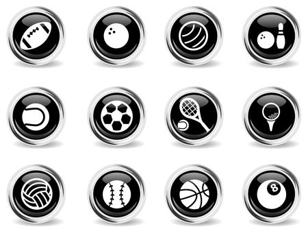 bola ocho: Bolas del deporte simplemente s�mbolo de iconos de la web Vectores