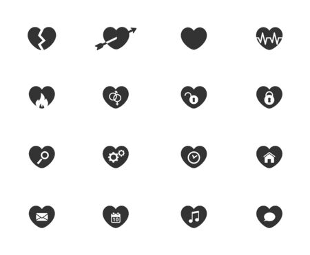 web icons: Heart simple icons for web